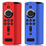 2 Pack Custodia per Telecomando Fire TV Stick 4K/4K Ultra HD con il Nuovo 2a Gen Alexa Voice Telecomando, Leggera Antiscivolo Antiurto Custodia in Silicone per Remote Controller (Rosso & Blu)