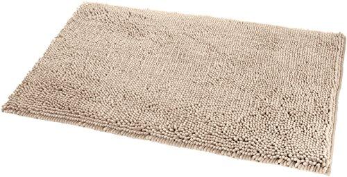Amazon Basics - Badteppich, Hochflor, rutschfest, Mikrofaser, 53 x 86 cm, Beige