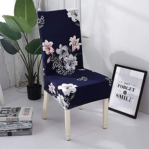 Fundas para sillas Lirio Azul Spandex Fundas sillas Comedor Lavable Extraíble Funda Muy fácil de Limpiar Duradera Modern Bouquet de la Boda Hotel Decor Restaurante 8/Piezas