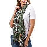 Mer's Style - Foulard Pañuelo Fular Bufanda Estampada Mujer, Verde Multicolor