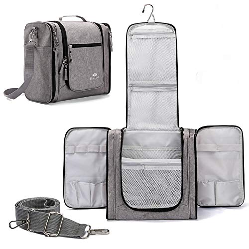 large capacity Hanging Travel Toiletry Bag for Men and Women Waterproof Makeup Organizer Bags wash bag Shaving Kit Cosmetic Bag for Accessories, Shampoo,Bathroom Shower, Personal Items Grey/Black