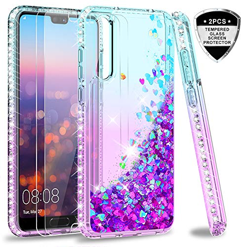 LeYi Custodia Huawei P20 PRO Glitter Cover con Vetro Temperato [2 Pack],Brillantini Diamond TPU Silicone Case Bumper Casing per Custodie Huawei P20 PRO/Huawei P20 Plus ZX Turquoise Purple Gradient