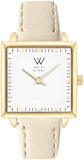 WRISTOLOGY Julia Petitie Square Womens Watch Gold Beige Leather Ladies Changeable Strap Band