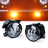 Xprite 4' Inch LED Fog Lights | 60W Amber Yellow CREE Led Chip Driving Offroad Fog Light | for 2007-2018 Jeep Wrangler JK Unlimited JK Foglights | Front Bumper Replacements Fog Lamps