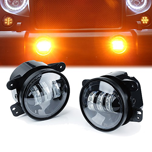 Xprite 4' Inch LED Fog Lights | Amber Yellow CREE Led Chip Fog Lamp for 2007-2018 Jeep Wrangler Unlimited JK Driving Off Road Fog Light