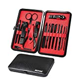 Mens Manicure Set - Mifine 16 In 1 Stainless Steel Professional Pedicure Kit Nail Scissors Grooming Kit with Black Leather Travel Case Second Generation(Red)
