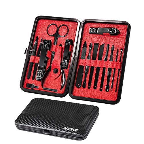 Mens Manicure Set - Mifine 16 In 1 Stainless Steel Professional Pedicure Kit Nail Scissors Grooming Kit with Black Leather...