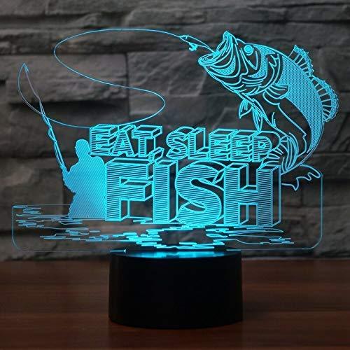 Fischen-Mann 3D Führte Lampe Usb-Gebühr Buntes Nachtlicht-Noten-Fernbedienungs-Tischlampe-Angler Des Fisch-3D Bestes Geschenk