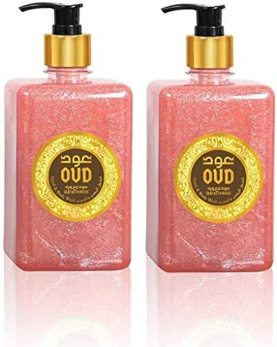 Lot de 2 Savons et Gels Douche Parfumerie 500ml Très Haute Qualité Arabe Orientale Unisex (Oud Rose)