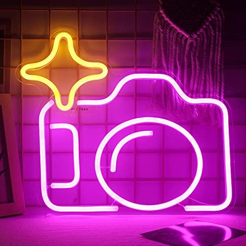 Ineonlife Fotocamera Insegne al Neon Rosa Led Sign Insegna al Neon in Acrilico per Parete della Telecamera da Letto Insegne Luminose al Neon Popolari per Ragazze Decorazioni per Matrimoni