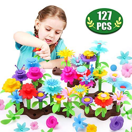 GILOBABY Blumenbau Spielzeug für Kinder,Blumengarten Gebäude Spielzeugblöcke Set mit 127 pcs Kunsthandwerk,mädchen Spielzeug,Kreative Geschenke für 3-6 Jahre mädchen