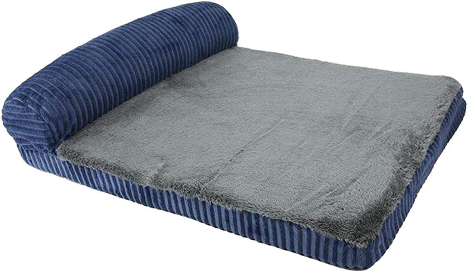 Memory Foam Dog Sofa Bed, Premium Corduroy and Smooth Velveteen Fabric, Detachable and Washable (color   bluee, Size   L)