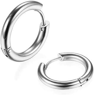 316L Surgical Stainless Steel Huggie Hoop Earrings 6mm/8mm/10mm/11mm/12mm/14mm Hypoallergenic Earrings Hoop Cartilage Helix Lobes Hinged Sleeper Earrings for Men Women