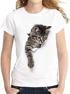 desolateness Women Round Neck 3D Print Summer Cat Fashion Short Sleeve Top Blouse T Shirt 4 Large