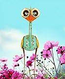 Trendshop-online Bunter exotischer Vogel Emu 50 cm Reiher Emo Paradiesvogel Teichfigur Garten Metallvogel Skulptur Metallfigur Windlicht