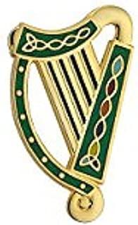 Solvar Irish Harp Brooch Gold Plated & Green Enamel Made in Ireland