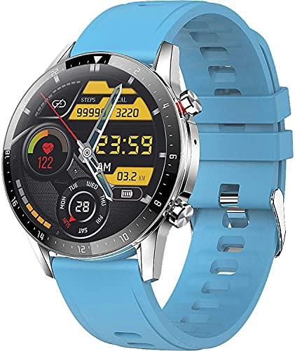 YQCH Smart Watch Call Watch Fitness Tracker con Monitor de Ritmo cardíaco Player Música Presión Arterial Pedro de Pantalla Táctil Pedómetro SmartWatch Sleep Tracker para Android iOS (Color : Blue)