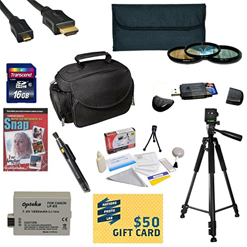 """47th Street Photo Best Value Accessory Kit For the Canon 450D, 1000D, XS, XSi - Kit Includes 16GB High-Speed SDHC Card + Card Reader + Extra Battery + Travel Charger + 58MM 3 Piece Pro Filter Kit (UV, CPL, FLD Lens) + HDMI Cable + Padded Gadget Bag + Professional 60"""" Tripod + Lens Cleaning Pen + Cleaning Kit + DSLR Camera Intro DVD Photo Print + More"""