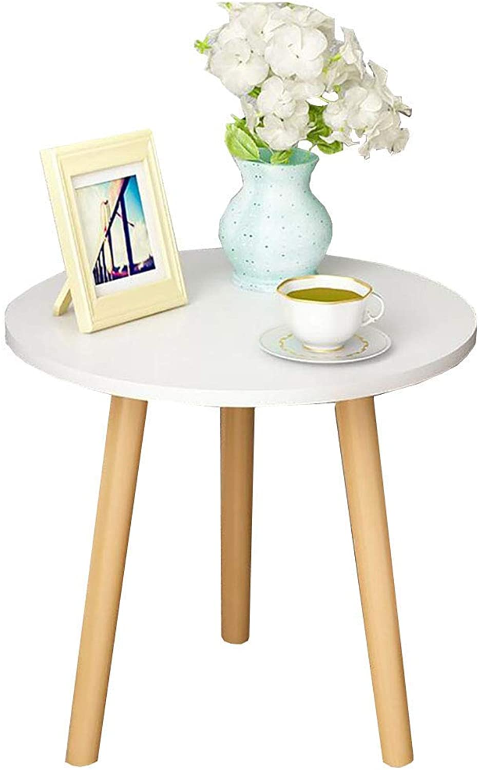 TJTG End Tables Nordic Simple Coffee Table Solid Wood Round Small Side Table Bedroom Mini Bed Table European Sofa Corner Home Office Desk (Size   35CM)