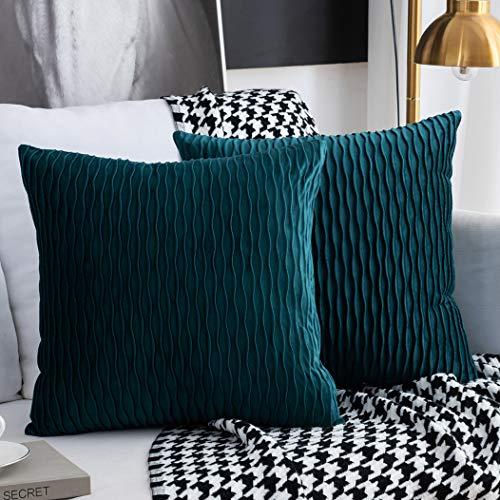 Kissenbezüge Set mit 2 dekorativen quadratischen rechteckigen Kissenbezüge Samt Moderne Kissenbezüge für Couch Bett Sofa Stuhl Schlafzimmer Wohnzimmer(Blau Grün)
