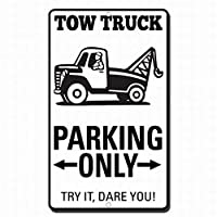 牽引トラックの駐車場は、それだけで標識金属標識を警告しようとしてみてください