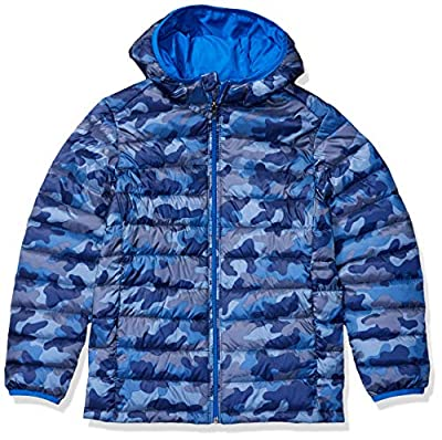 Amazon Essentials Toddler Boys Light-Weight Water-Resistant Packable Hooded Puffer Jackets Coats, Blue Camo, 4T