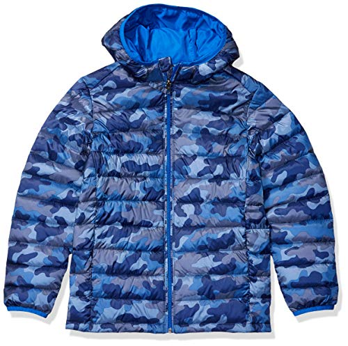 Amazon Essentials Hooded Puffer Jacket Jacke, blau camouflage, 12 US X-Large