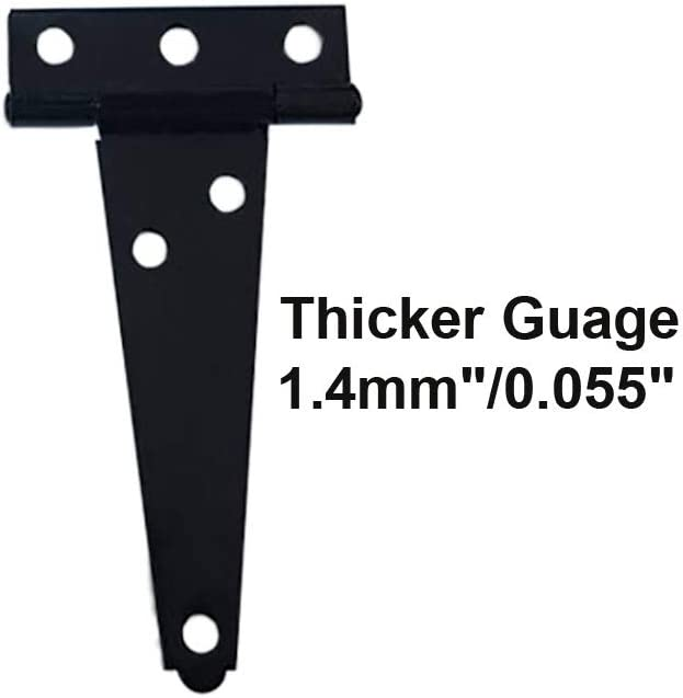 with Stainless Steel Screw 4 Pack 3 x 2-5//16 x 1.4 mm Black Coated QCAA Stainless Steel Light Tee Hinge Made in Taiwan