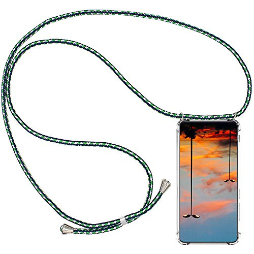 CLM-Tech Carcasa con Cuerda para Colgar Compatible con Xiaomi Mi 9T / Mi 9T Pro - Funda Silicona Transparente con Cordon para Llevar en el Cuello, Verde Blanco Azul