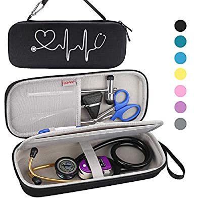 BOVKE Travel Case for 3M Littmann Classic III, Lightweight II S.E, Cardiology IV Diagnostic, MDF Acoustica Deluxe Stethascopes - Extra Room for Taylor Percussion Reflex Hammer and Penlight