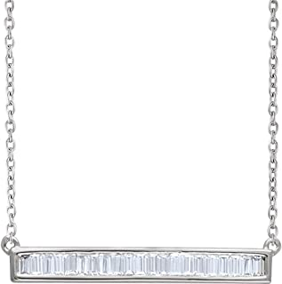 Jewels By Lux 14k White Gold 1/2 CTW Diamond Baguette Bar 16-18