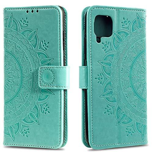 HTDELE für Samsung Galaxy A12 Hülle,Ultra Slim Flip Hülle Grün Etui mit Kartensteckplatz & Magnetverschluss Leder Wallet Klapphülle Book Hülle Bumper Tasche für Samsung Galaxy A12/M12 (T-Grün)