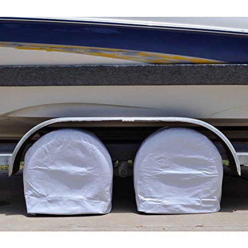TCP Global Set of 2 Waterproof Vinyl RV Wheel & Tire Covers, Fits 24