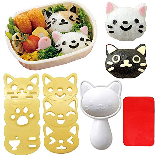 Gdaya Small Rice Ball Mold Sets Lovely Cat Pattern DIY Sushi Bento Nori Kitchen Rice Mould DIY Kitchen Tools with Nori Seaweed Punch Cutter for Home Party Kids meal Make