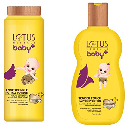 Lotus Herbals, Baby+ Love Sprinkle NoTalc Powder 100g and Tender Touch Baby Body Lotion 200ml