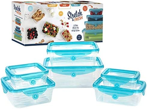 STRETCH and FRESH by Emson Silicone Food Storage System Airtight for Solid Food and Leak Proof product image