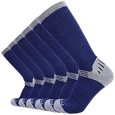 Enerwear 6P Pack Men's Merino Wool Blended Hiking Trail Socks (US 10-13, Blue)