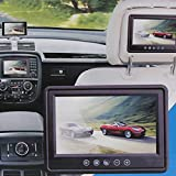 Gigaglitz 9 Inch 16:9 HD Pillow TFT LCD Color Screen Car Rearview Monitor Support 2 Video Output Widescreen Car Rear View Headrest DVD VCR Monitor with Touch Button & Remote Control