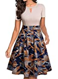 YATHON Women's Vintage Floral Flared A-Line Swing Casual Party Dresses with Pockets (L, YT018-Beige Firework)