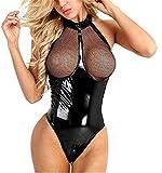 Damen Wetlook Leder Bodysuit Brust Harness PU Leder Halsband mit Kette Erotik String Body Unterwäsche Gogo Unterwäsche Clubwear mit Neckholder, Style 1, S