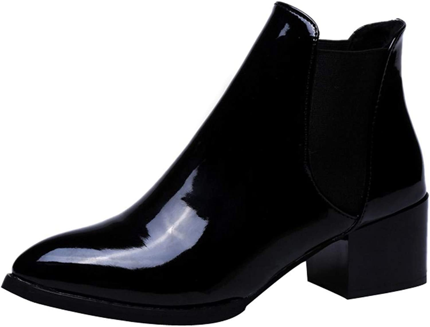 Niliyou Women Ankle Boots Leather Pointed Women Boots Sexy Boots Toe Low Heel Boots