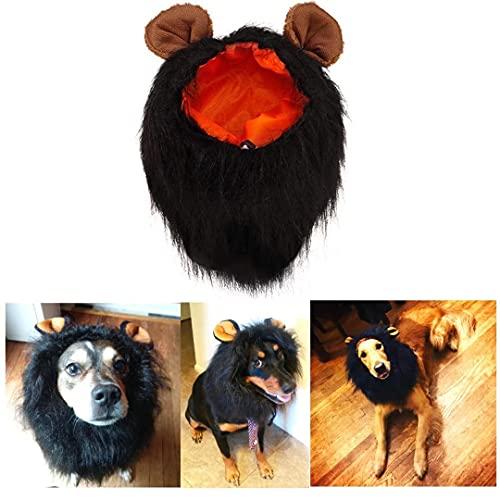 Funny Dog Costume, Lion Mane Wig for Dog Halloween Christmas Dress Up (with Ears, Color: Black, Size: Large)