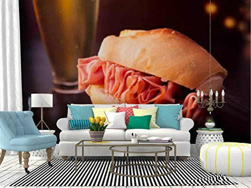 RECETHROWS Wall Mural Mortadella Sandwich and Beer Peel and Stick Wallpaper Self Adhesive Wallpaper Large Wall Sticker Removable Vinyl Film Roll Shelf Paper Home Decor