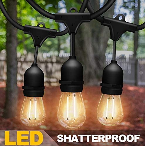 Solatec LED String Lights, Shatterproof 48FT 15 Hanging Sockets Commercial Grade Waterproof 2W Outdoor String Light D...