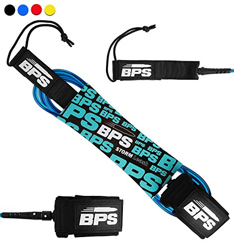 BPS 'Storm' 5 ft 7.2MM Surfboard Leash - Premium SUP/SURF Strong Durable Leg Rope - Stainless Steel Swivel and Triple Rail Saver - Straight Leash for SUP Paddle Surfboarding (Blue)