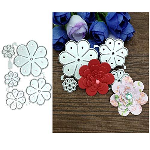 5pcs Flower Die Cuts,Flower Leaves Metal Cutting Dies Cut Stencils Template Mould DIY Invitation Card Scrapbook Embossing Craft Card Making