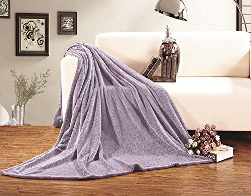 Elegant Comfort Luxury Velvety Softness Fuzzy Plush Micro-Velour Ultra-Soft Blanket 100% Hypoallergenic, California King, Lavender