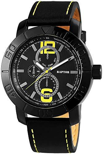 Raptor Herren-Uhr Oberseite Echt Leder Leuchtende Zeiger Analog Quarz RA20058