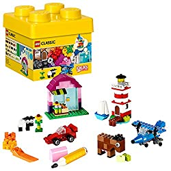 Get creative with classic LEGO bricks in 29 different colours Features a wide range of LEGO bricks, plus windows, two types of door, wheels, axles and propellers Designed to inspire open-ended creativity, with special pieces to encourage imaginative ...