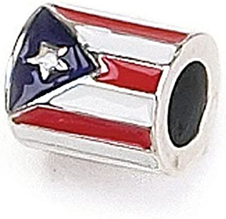 Zable Sterling Silver Flag Pandora Compatible Bead/Charm